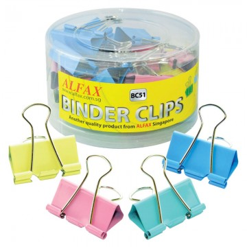 ALFAX BC51 Colour Binder Clip 51mm 12's