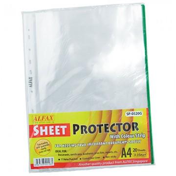 ALFAX SP0520G Sheet Protector 11 Hole Refill Green Edge 20'