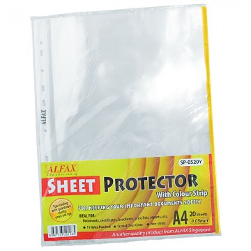 ALFAX SP0520Y Sheet Protector 11 Hole Refill Yellow Edge 20'