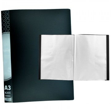 ALFAX CH40A3 Clear Holder 40 Pockets A3 Black