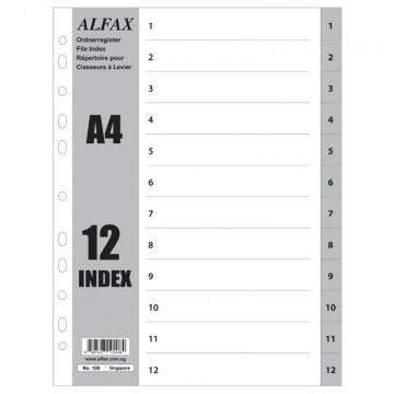 ALFAX 108 PP Grey Divider 1-12 A4