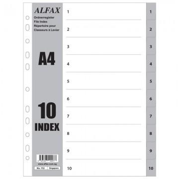 ALFAX 112 PP Grey Divider 1-10 A4