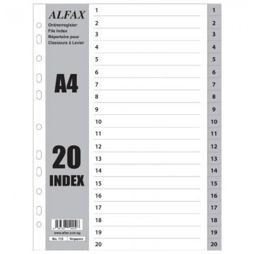 ALFAX 113 PP Grey Divider 1-20 A4
