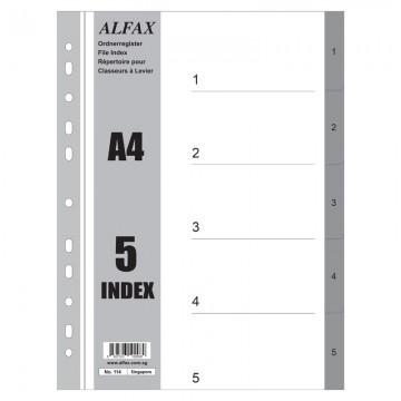 ALFAX 114 PP Grey Divider 1-5 A4