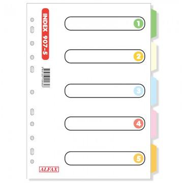 ALFAX 907-5 Paper Divider 5 Colours A4 10's