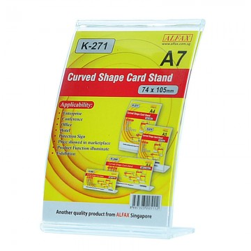 ALFAX K271V Curved Shape Card Stand 74x105mm A7