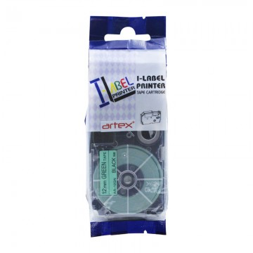 AR12GN COMPATIBLE Label Tape for Casio 12mm Black on Green