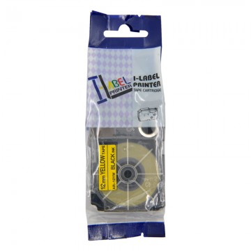 AR12YW COMPATIBLE Label Tape for Casio 12mm Black on Yellow