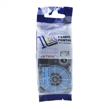 AR18BU COMPATIBLE Label Tape for Casio 18mm Black on Blue
