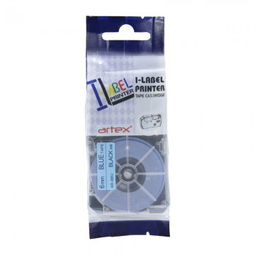 AR6BU COMPATIBLE Label Tape for Casio 6mm Black on Blue