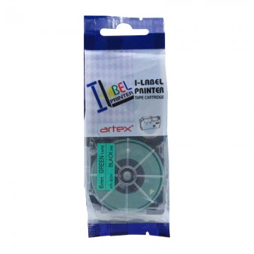 AR6GN COMPATIBLE Label Tape for Casio 6mm Black on Green