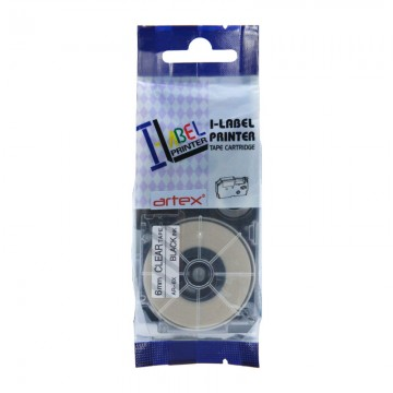AR6X COMPATIBLE Label Tape for Casio 6mm Black on Clear