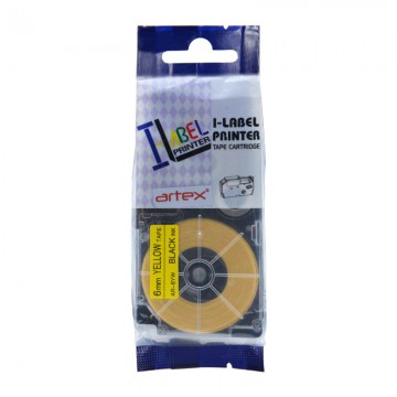 AR6YW COMPATIBLE Label Tape for Casio 6mm Black on Yellow