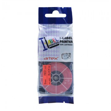 AR9RD COMPATIBLE Label Tape for Casio 9mm Black on Red