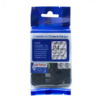 AZE151 COMPATIBLE Label Tape for Brother 24MM Black on Clear