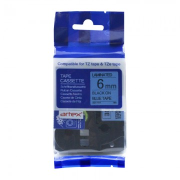AZE511 COMPATIBLE Label Tape for Brother 6MM Black on Blue