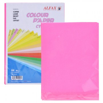 ALFAX C620 Colour Paper 80g A4 100's Cyber Pink