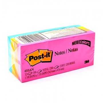 "3M 653AN Post-it Notes 1.5""x2"" Capetown 12's"