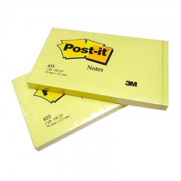 "3M 655YE Post-it Notes 3""x5"" Yellow"