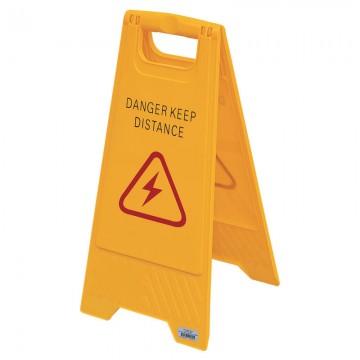 """Floor Sign """"DANGER KEEP DISTANCE"""" AF03050 Orange 315x640mm"""
