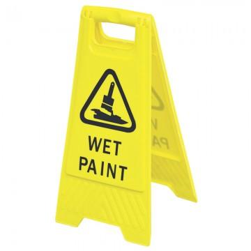 """Floor Sign """"WET PAINT"""" Yellow 600x300mm"""