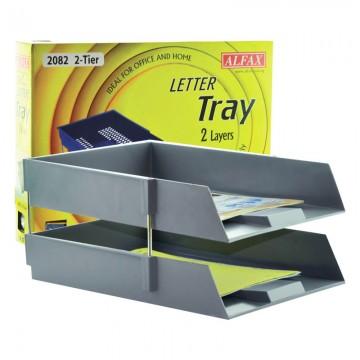 ALFAX 2082 Letter Tray 2Tier Grey