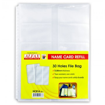 ALFAX NCR14 Name Card Holder Refill 30 Hole 0.08mm 10's