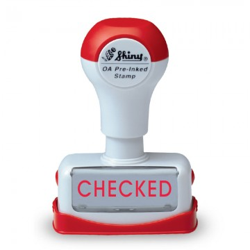 """SHINY Pre-Inked Stamp """"CHECKED"""" Red"""