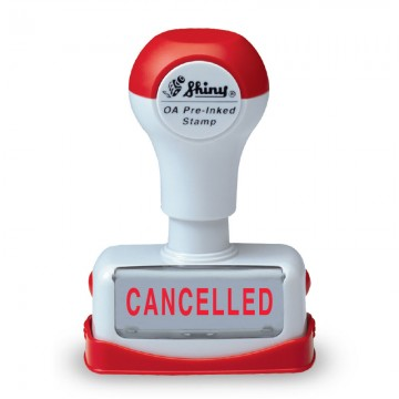 """SHINY Pre-Inked Stamp """"CANCELLED"""" Red"""