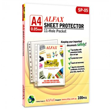 ALFAX SP05 Sheet Protector 11 Hole 0.05mm A4 100's