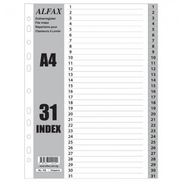 ALFAX 102 PP Grey Divider 1-31 A4