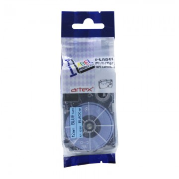 AR12BU COMPATIBLE Label Tape for Casio 12mm Black on Blue