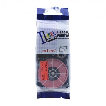 AR12RD COMPATIBLE Label Tape for Casio 12mm Black on Red