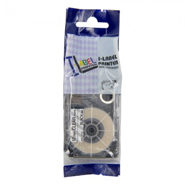 AR12X COMPATIBLE Label Tape for Casio 12MM Black on Clear