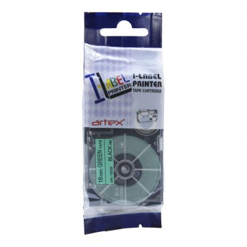 AR18GN COMPATIBLE Label Tape for Casio 18mm Black on Green