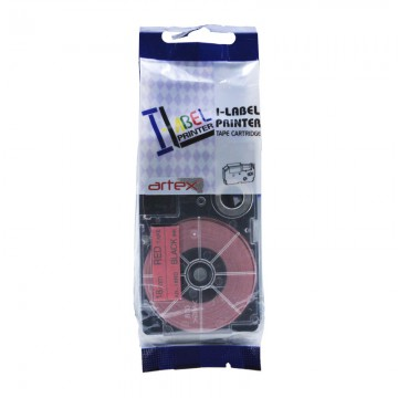 AR18RD COMPATIBLE Label Tape for Casio 18mm Black on Red