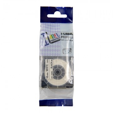 AR18WE COMPATIBLE Label Tape for Casio 18mm Black on White