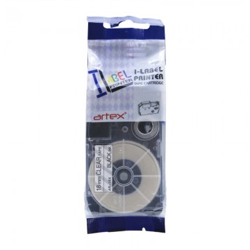 AR18X COMPATIBLE Label Tape for Casio 18mm Black on Clear