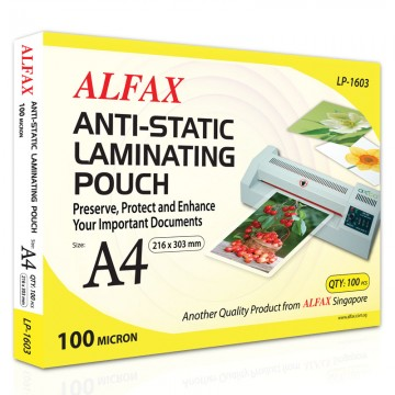 ALFAX LP1603 Anti-Static Laminating Film 100mic A4 100's