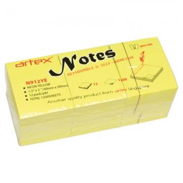 ARTEX N912YE Notes 40x50mm 100'sx12pads Yellow