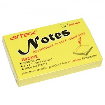 ARTEX N923YE Notes 75x50mm 100's Yellow