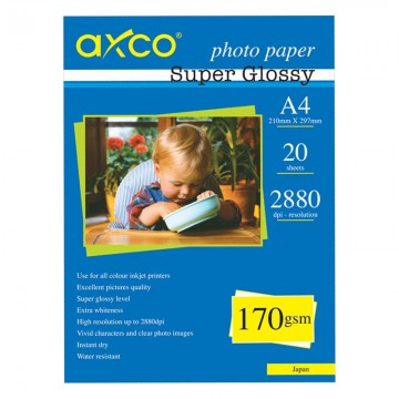 AXCO Photo Paper Super Glossy 170g A4 20's