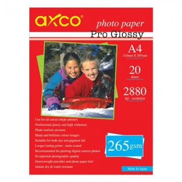 AXCO Pro Glossy Photo Paper 265g A4 20's