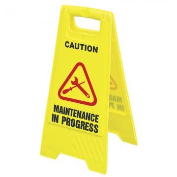 """Floor Sign """"MAINTENANCE IN PROGRESS"""" Yellow 600x300mm"""